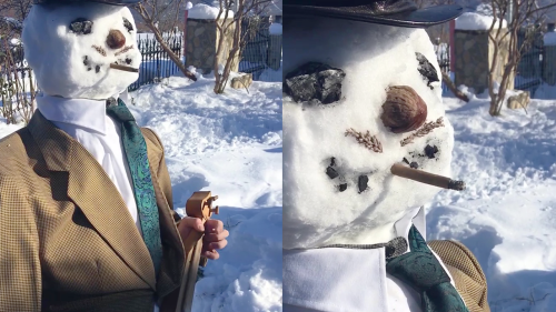 'Talented Soloist Plays Pontic Lyra While Dressed as a Snowman'