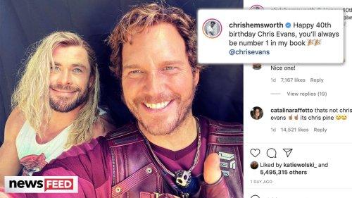 Chris Hemsworth TROLLS Chris Evans With Chris Pratt On 40th Birthday!