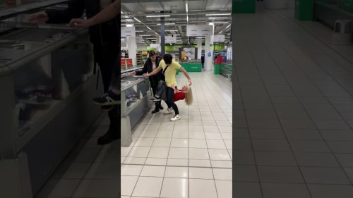 Naughty girl performs pull-ups under strangers hip's