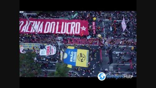 Aerial view of the protest against President Jair Bolsonaro in Sao Paulo, Brazil