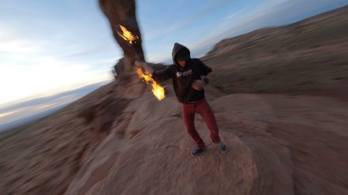 FPV Captures Man's Spectacular Fire Spinning Act
