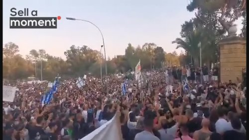 Raw Footage of Anti-Safe Pass Protest Outisde the Presidential House in Cyprus