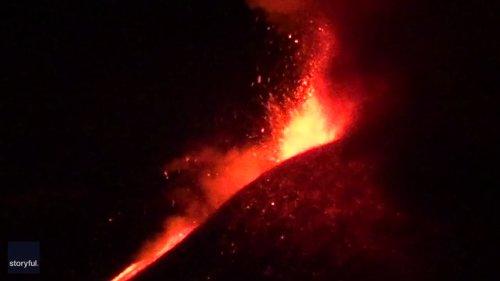 Lava Lights Up Night Sky During Mount Etna Eruption