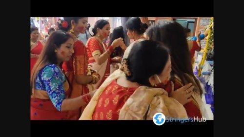 Indian women played Sindur Khela at Northern India Ahead of Durga Maa Idol Immersion