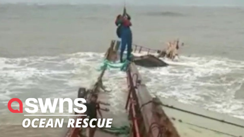Coastguard rescues 16 crew members from a sinking ship in western India (RAW)