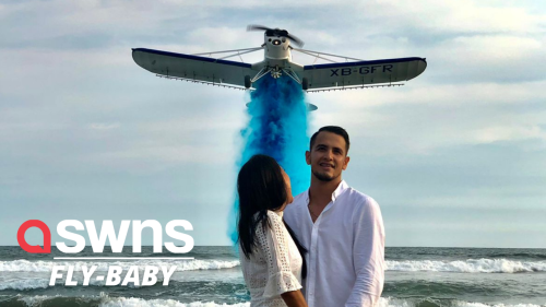 Couple who met at aviation school uses airplane water trail in dramatic gender reveal