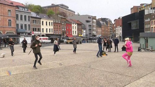 Street dancing, drumming march on display as terraces reopen in Charleroi