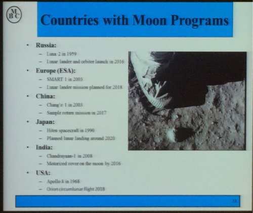 Countries with Lunar mission programs. From Astronaut Mark Brown.