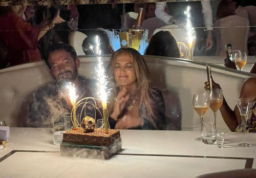 Jennifer Lopez and Ben Affleck spotted looking loved up while celebrating the singer's 52nd birthday in France