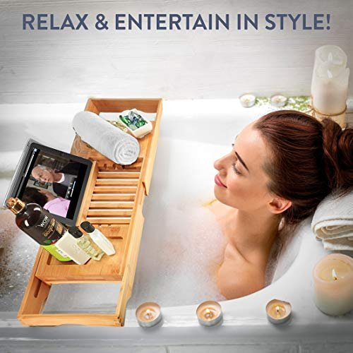 Relax in the bath with a bamboo bathtub  tray