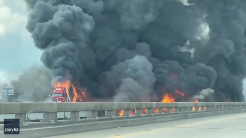 Thick Smoke Billows From Burning Truck on Highway in Louisiana