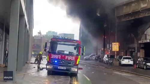Commercial Units Engulfed in Flames as Large Fire Burns Near South London Rail Station