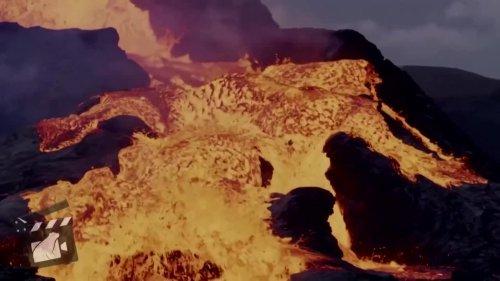 Watch lava cascade from Icelandic volcano