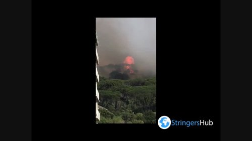South Africa: Explosion At Table Mountain Fire In Cape Town Caught On Camera