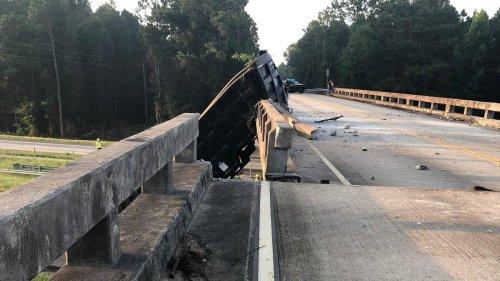 A Dump Truck Crashed Into A Bridge And Pushed It Six Feet Sideways