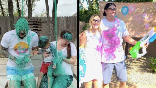 Creative Gender Reveals Get Couples Soaked In Their Baby's Color