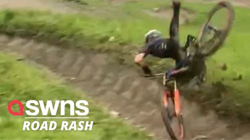 Watch the moment a downhill racer misjudges a turning and goes flying (RAW)