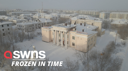 Incredible drone footage shows eerie frozen village in Russia - RAW