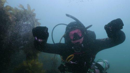Diver takes selfie underwater