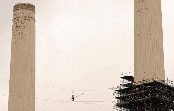 Helen Skelton walks between two chimneys