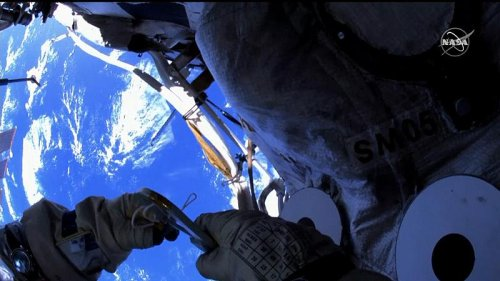 Cosmonauts Oleg Novitsky and Pyotr Dubrov conduct spacewalk from the ISS
