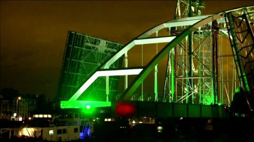 Pontoons transport bridge across Rotterdam river