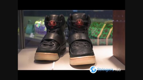 Kanye West Nike Air Yeezy I sneakers priced 2 million dollars seen at Sotheby auction show in Hong Kong