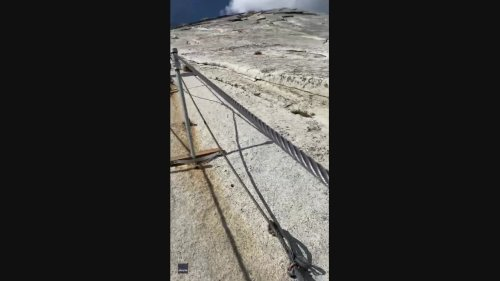 Hiker Documents Terrifyingly Steep Half Dome Trail in Yosemite National Park
