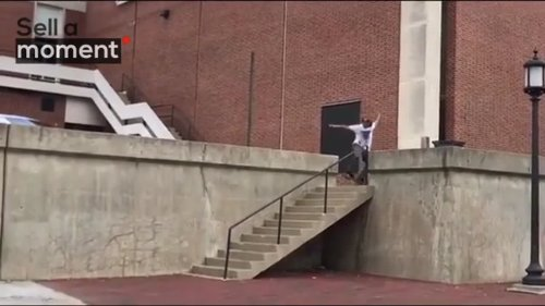 Talented Skater Leaps over Flight of Stairs