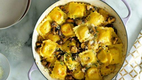 Crispy Skillet Ravioli With Garlic Butter Mushrooms