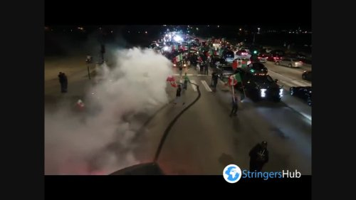 A car drifts on Mexico's Independence Day in Chicago, IL, USA