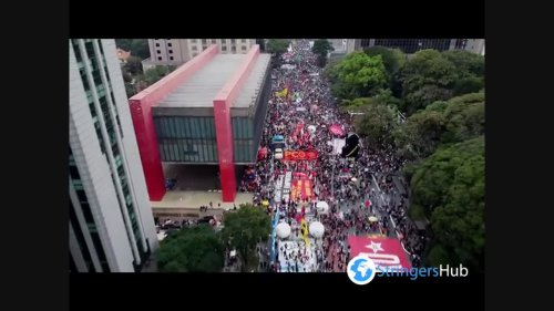 Aerial view of the anti-government protest in Sao Paulo, Brazil