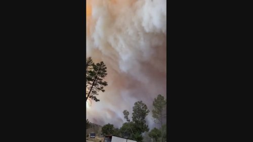 Smoke and Orange Haze Fill Sky Above New Mexico Campground as Three Rivers Fire Rages