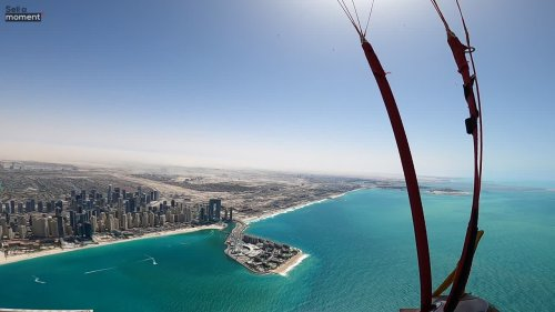 Skydiver's POV Over Palm Islands in Dubai