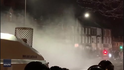 Police Use Water Cannon to Disperse Crowds in Belfast