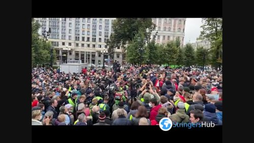 Russian communists rally against the Kremlin's recent major victory in parliamentary elections in Moscow,