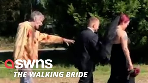 A zombie-obsessed bride had her 'dream wedding' - dedicated to The Walking Dead!
