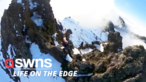 Vertigo-inducing footage shows Australian hikers travelling to the highest peak on Madeira Island (RAW)