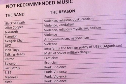 The Soviet Union banned some of your favorite bands in 1985