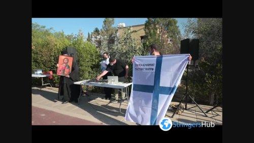 "Religious protest in Nicosia, Cyprus against Eurovision entry ""El Diablo"""