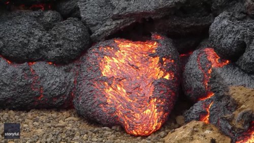 Oddly Satisfying? Lava Oozes Out of Egg-Shaped Lobe at Iceland Volcano