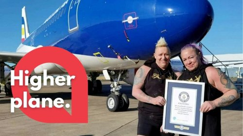 This is the moment a British married couple beat a Guinness World Record together - by pulling a 48-tonne PLANE (RAW)