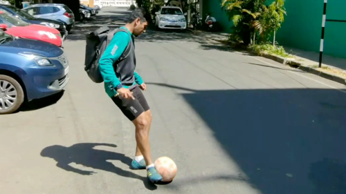 'Indian Football Fan Slays the 'Ball into Backpack' Challenge'