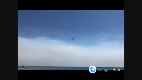 Airplane with water spotted in Serik, Turkey where forest fire continues 1