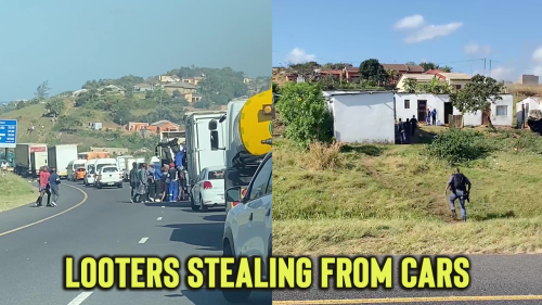 'Disturbing Footage of Looters Stealing from Cars During South Africa Riots'