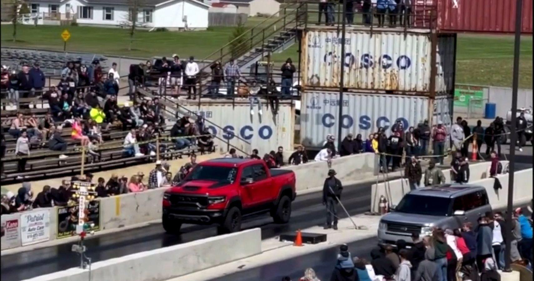 Watch: Ford Flex Sleeper Embarasses Hellcat-Powered Ram TRX In Drag Race