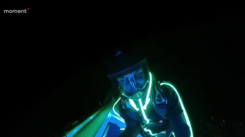 Creative Duo Pretend to be UFO's by Skydiving With Glow Stick Suits at Night
