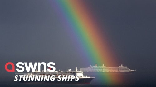 Incredibly bright RAINBOW lands right in front of Cunard's two magnificent ships (RAW)