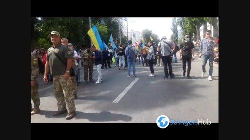 Crimean Tatars on the march of veterans in Kyiv, Ukraine