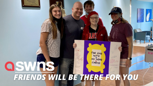A 'Friends' fanatic celebrated end of chemo with sign that reads 'The one with no more chemo'